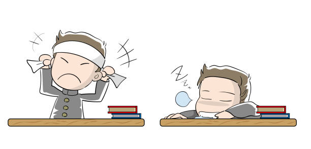 Student boy set · Motivation and laziness Education vector illustration material absentee stock illustrations