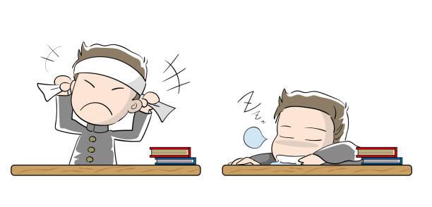 学生少年設定 ·動機と怠惰 - 作文の授業点のイラスト素材/クリップアート素材/マンガ素材/アイコン素材