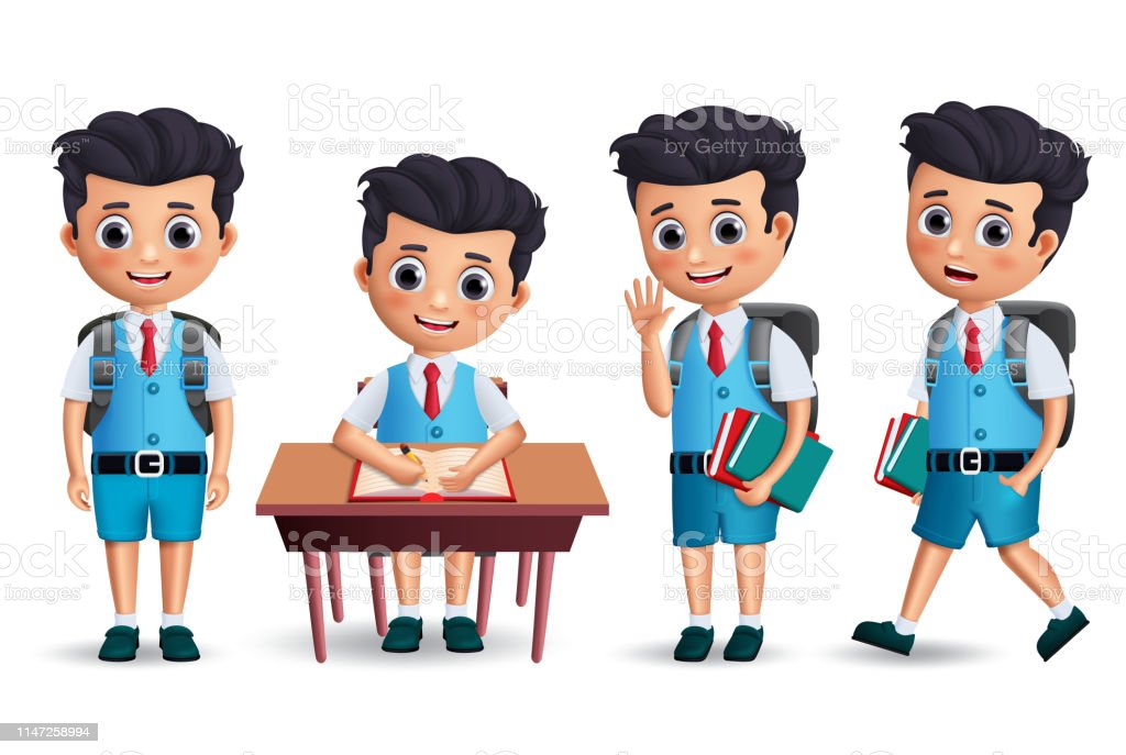 Student Boy Vector Character Set School Kid Character
