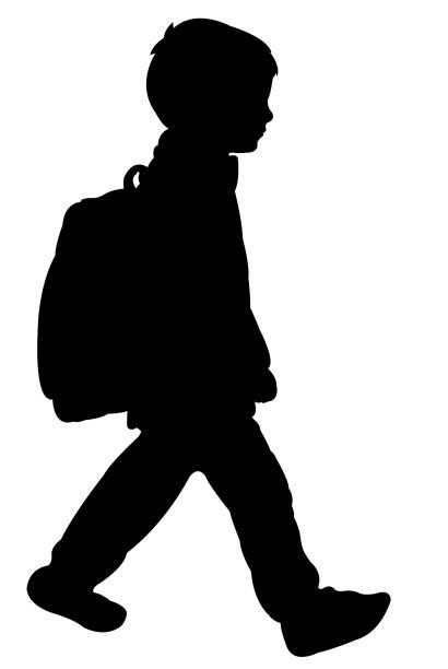 illustrations, cliparts, dessins animés et icônes de un garçon d'étudiant avec le sac, vecteur de silhouette - école primaire