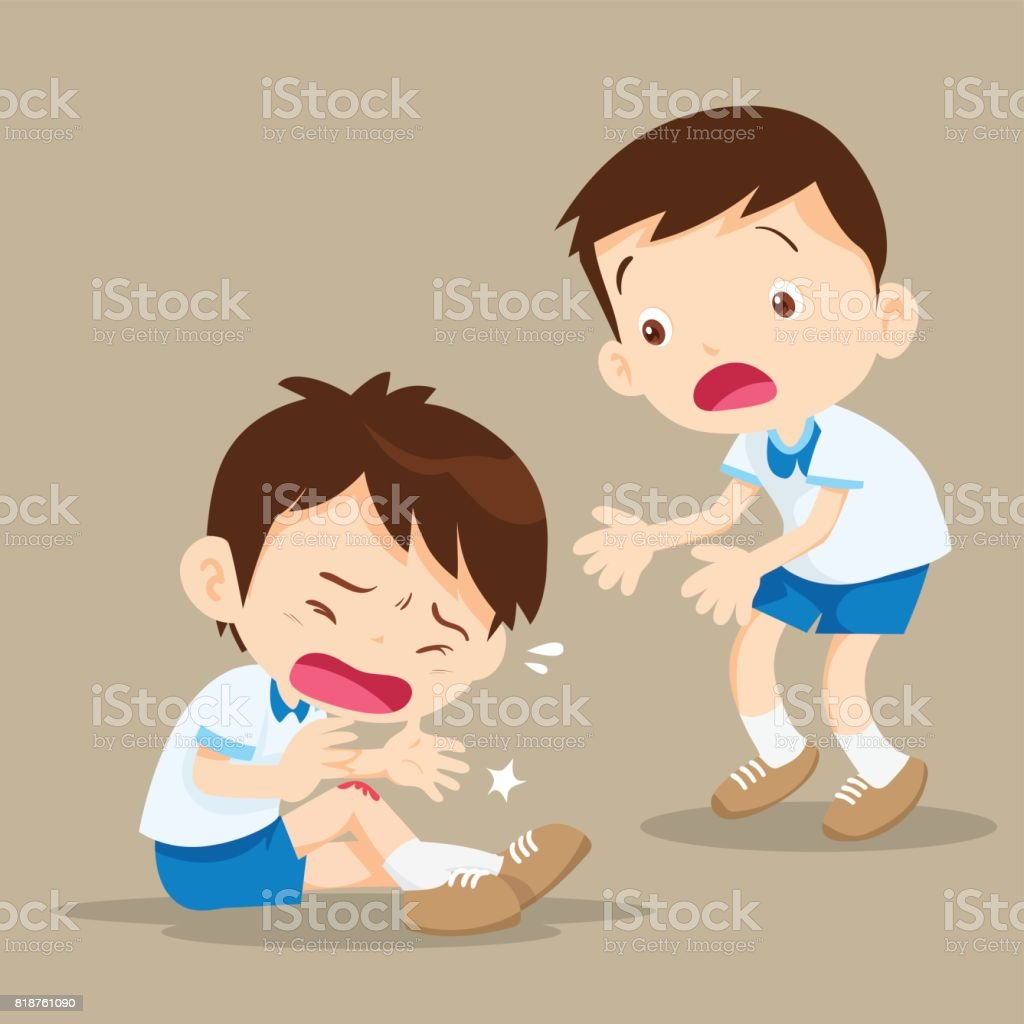 Student Boy with wounds on his leg vector art illustration