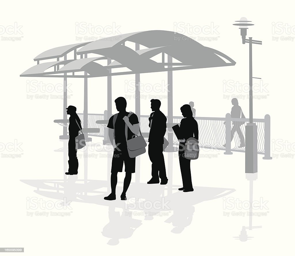 Student Bus Stop Vector Silhouette royalty-free stock vector art