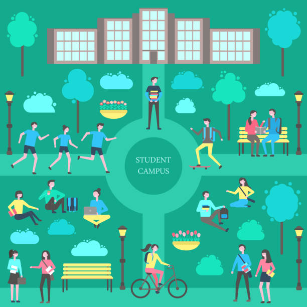 Student Campus Teenagers Poster Vector Illustration Student campus teenagers poster vector. Park and main building, male carrying books person with laptop, jogging group and lady on bicycle. Skating boy campus stock illustrations