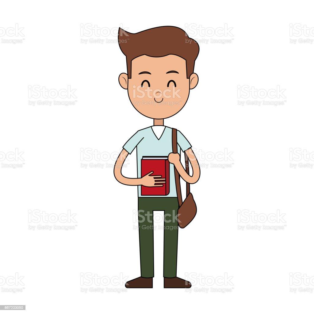Ilustración De Estudiantes Portando Bolsa De Dibujos Animados Icono