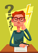 Student character can not solve task. Vector flat cartoon illustration