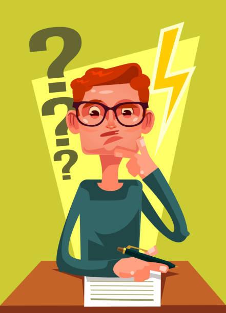 illustrazioni stock, clip art, cartoni animati e icone di tendenza di student character can not solve task - test
