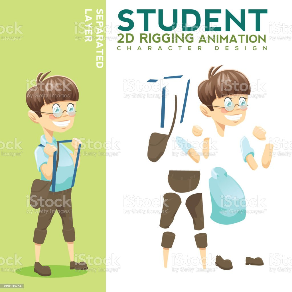 Student Character for Animation vector art illustration