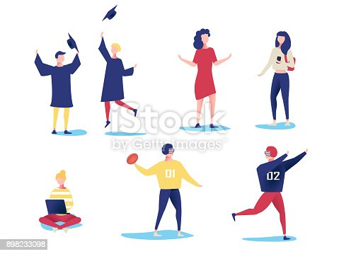 istock Student characters showing various activities isolated on white background. Vector modern flat design. 898233098