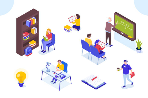 ilustrações, clipart, desenhos animados e ícones de personagens de estudante - aula de redação
