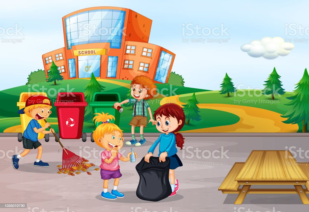 Student Cleaning School Area Stock Vector Art More Images Of Art