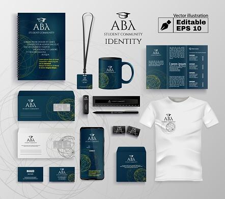 Student Community Identity Vector Editable Set