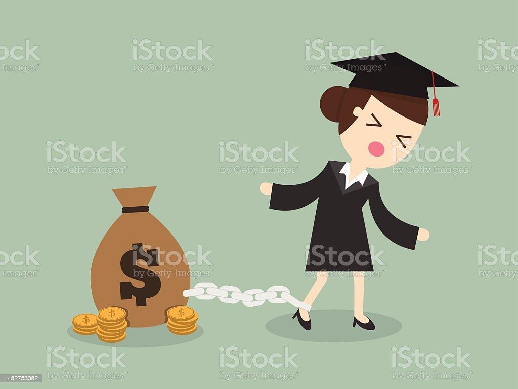 Student debt vector art illustration
