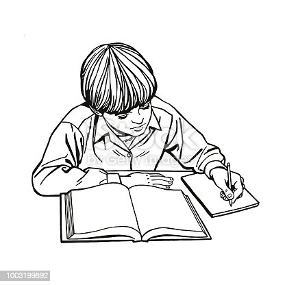 Student Doing Homework Stock Vector Art & More Images of