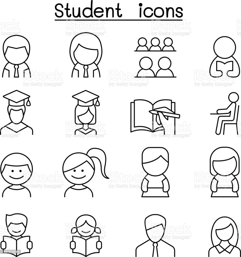 Student & Education icon set in thin line style vector art illustration