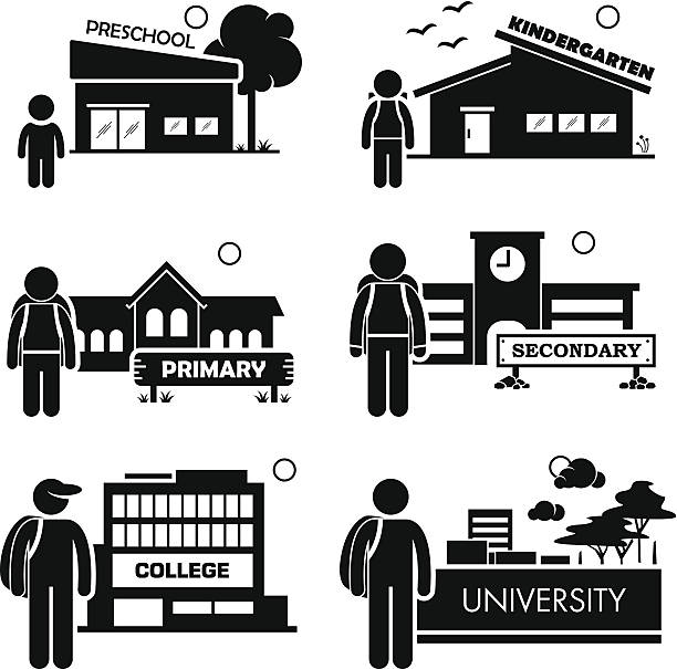 student education level pictogram icon clipart - old man stick figure silhouette stock illustrations, clip art, cartoons, & icons