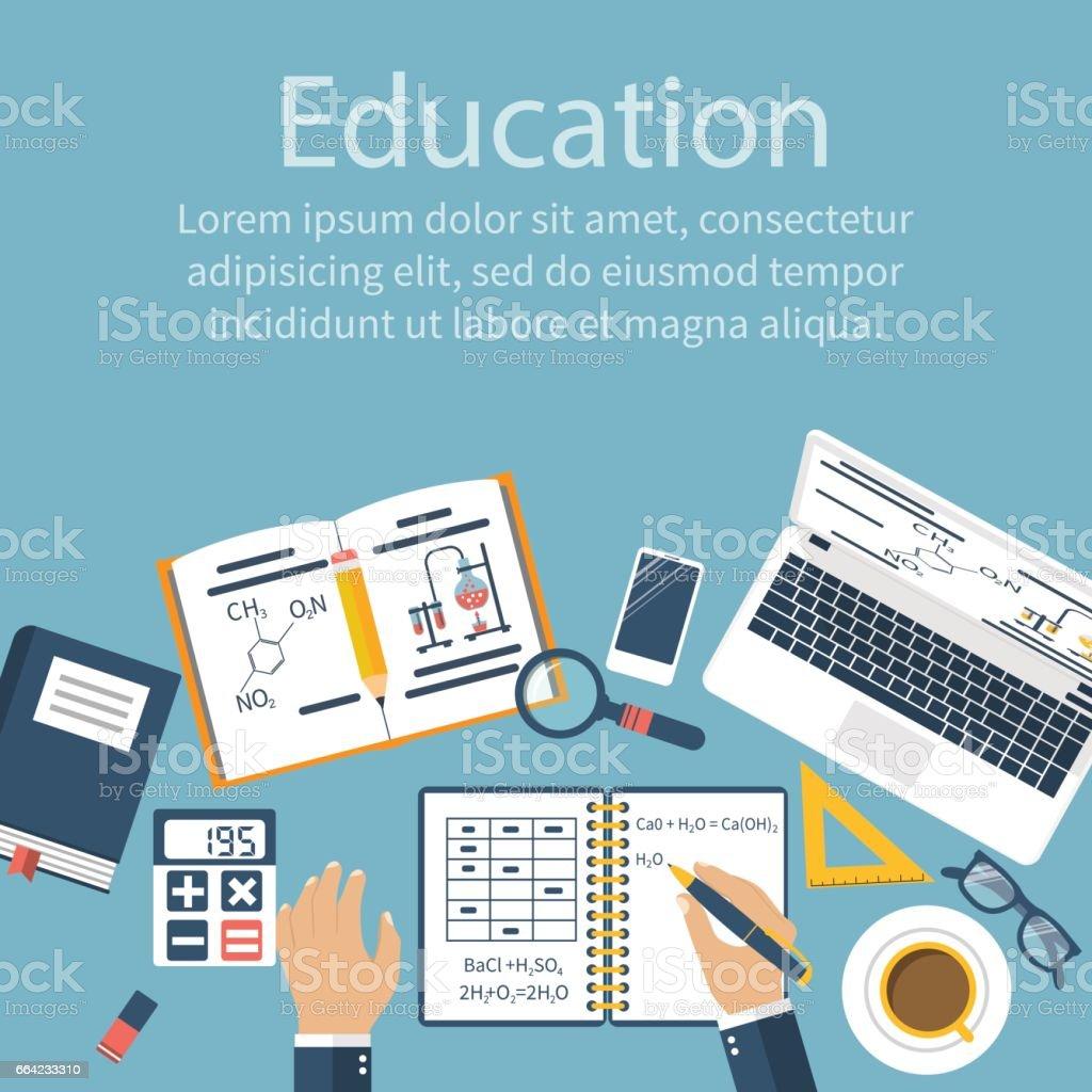 Educação do aluno. Estudante escreve no caderno. - ilustração de arte em vetor