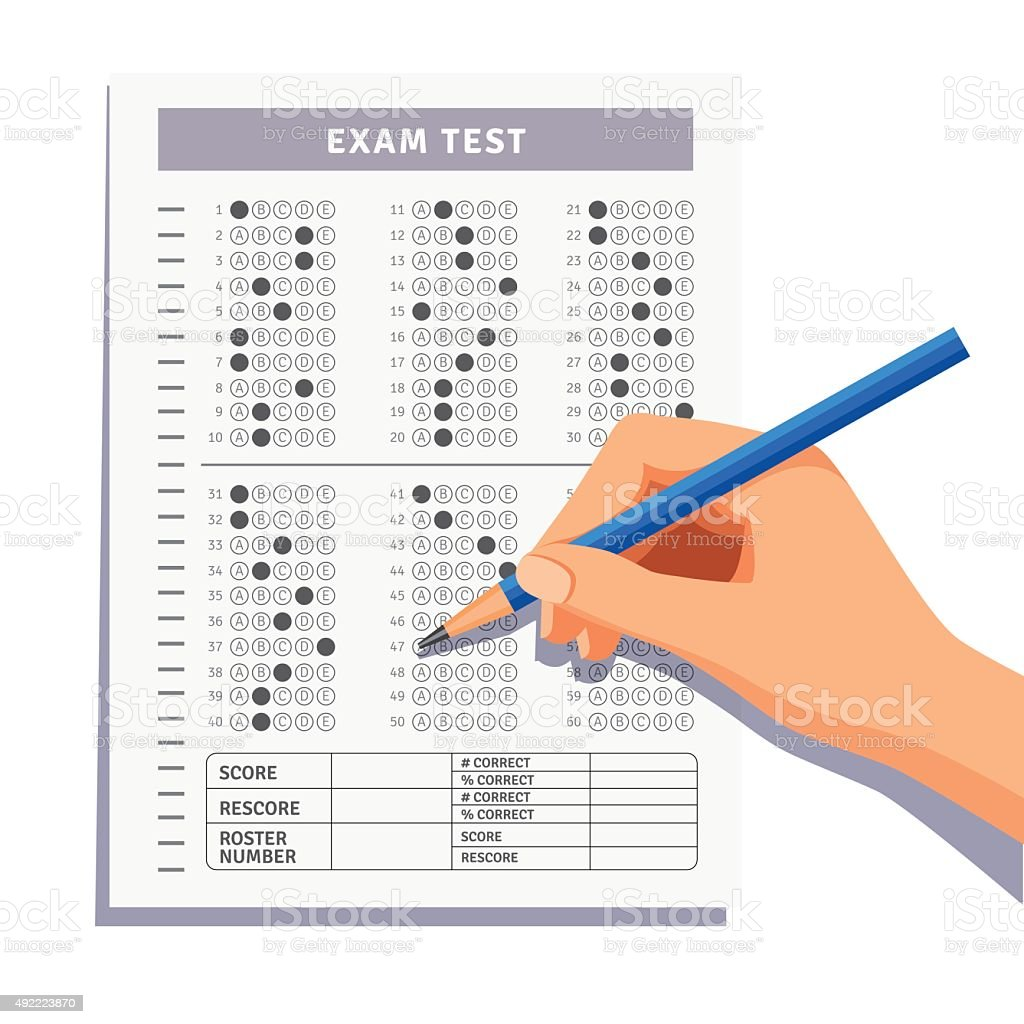 Student filling out answers to exam test vector art illustration