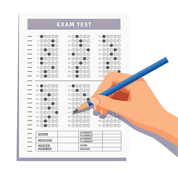 illustrazioni stock, clip art, cartoni animati e icone di tendenza di studente compilare le risposte in esame prova - test