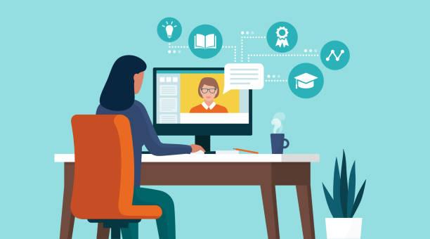 illustrazioni stock, clip art, cartoni animati e icone di tendenza di student following online courses on her computer at home - studenti