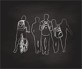 Chalk drawing vector illustration of students walking to school