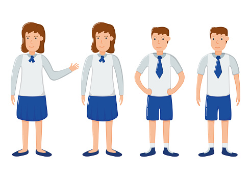Student girl and boy character in school clothes, concept woman man standing isolated on white, flat vector illustration. Smiling schoolchild together.