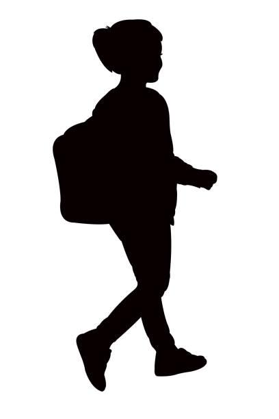 stockillustraties, clipart, cartoons en iconen met student meisje lichaam silhouet vector - alleen één meisje