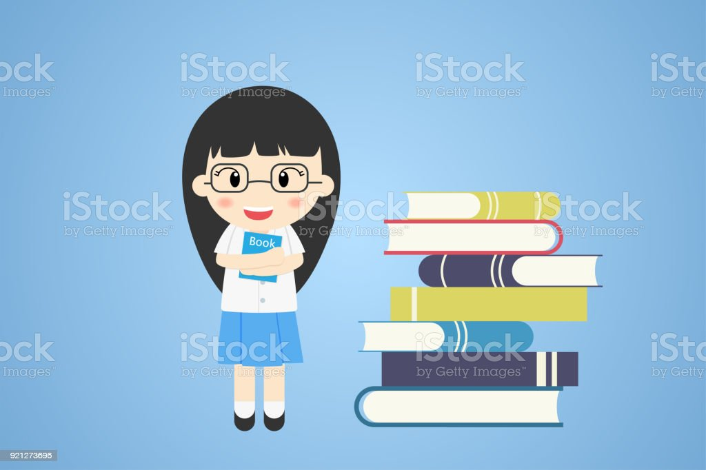 Student Girl Cute Character School Uniform With Many Books