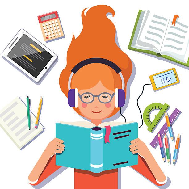 Little girl reading books Royalty Free Vector Image