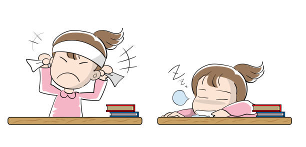 Student girls set · Motivation and laziness Education vector illustration material absentee stock illustrations