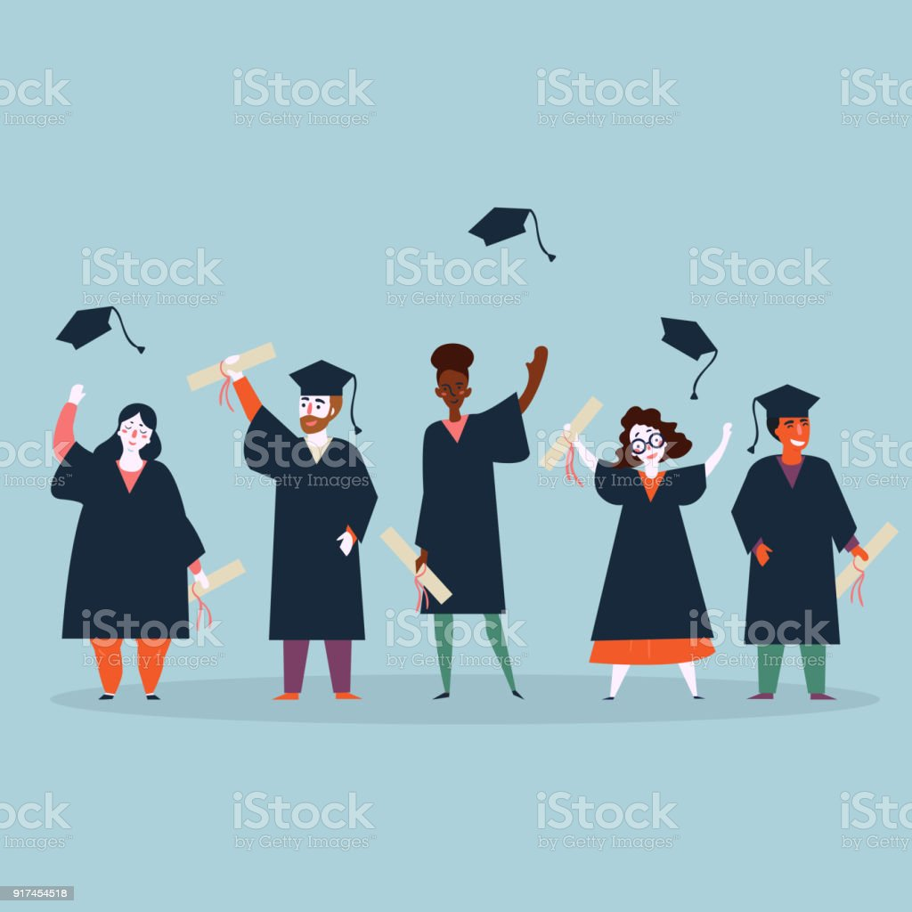 Student graduation. Man and woman in mantles vector art illustration