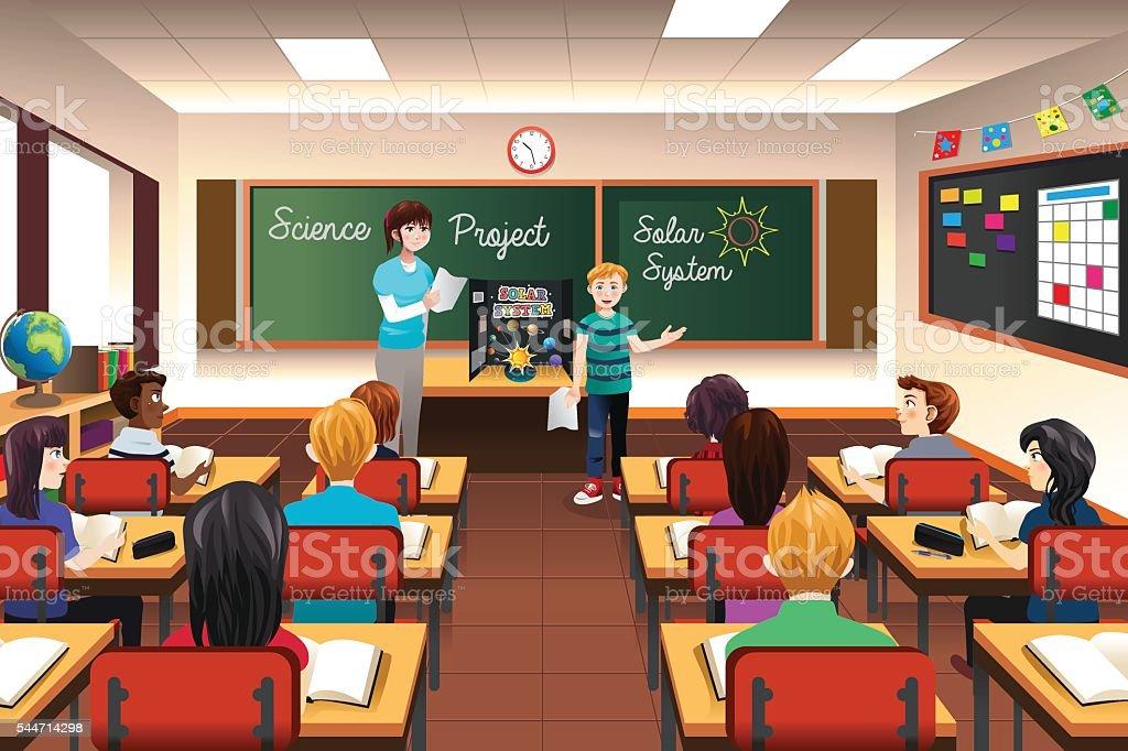Estudante com a ciência apresentação - ilustração de arte em vetor