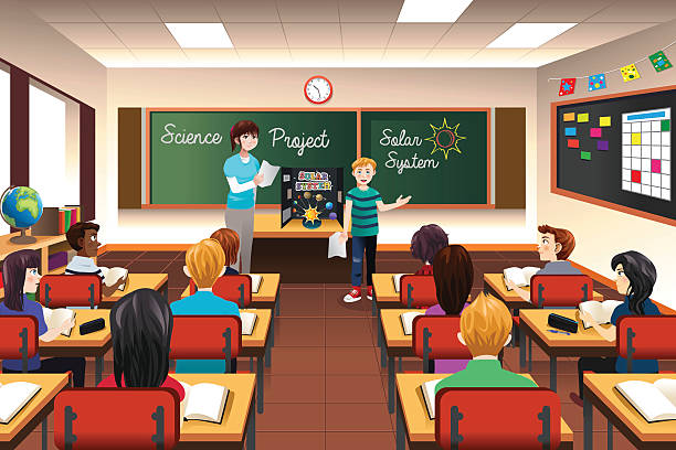 スチューデントが科学プレゼンテーション - 教室点のイラスト素材/クリップアート素材/マンガ素材/アイコン素材