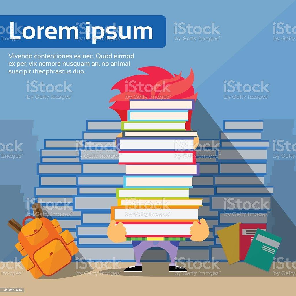 Student Hold Books, School Boy University Exam Library Reading vector art illustration