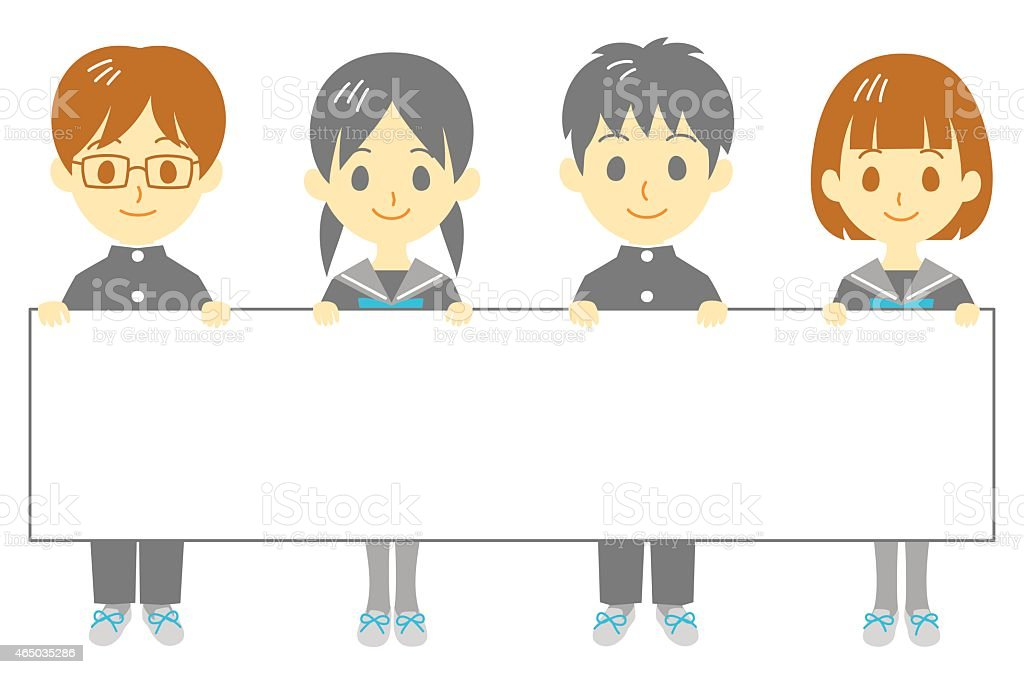 Student holding blank banner vector art illustration