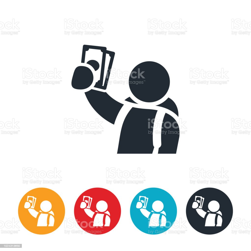 Student Holding Cash Icon vector art illustration