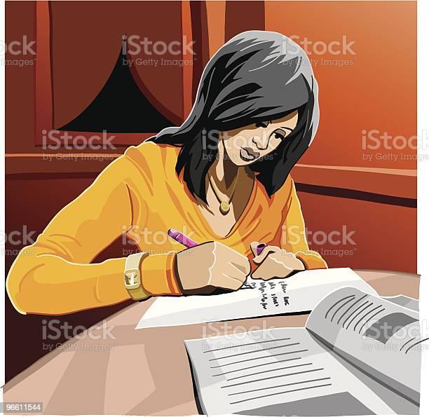 Student Homework-vektorgrafik och fler bilder på Bok - Tryckt media