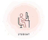 Student Icon with Watercolor Patch