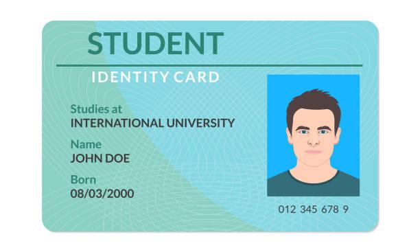 學生身份證。大學、學校、大學身份證都有照片。向量例證。 - 國際比賽 幅插畫檔、美工圖案、卡通及圖標