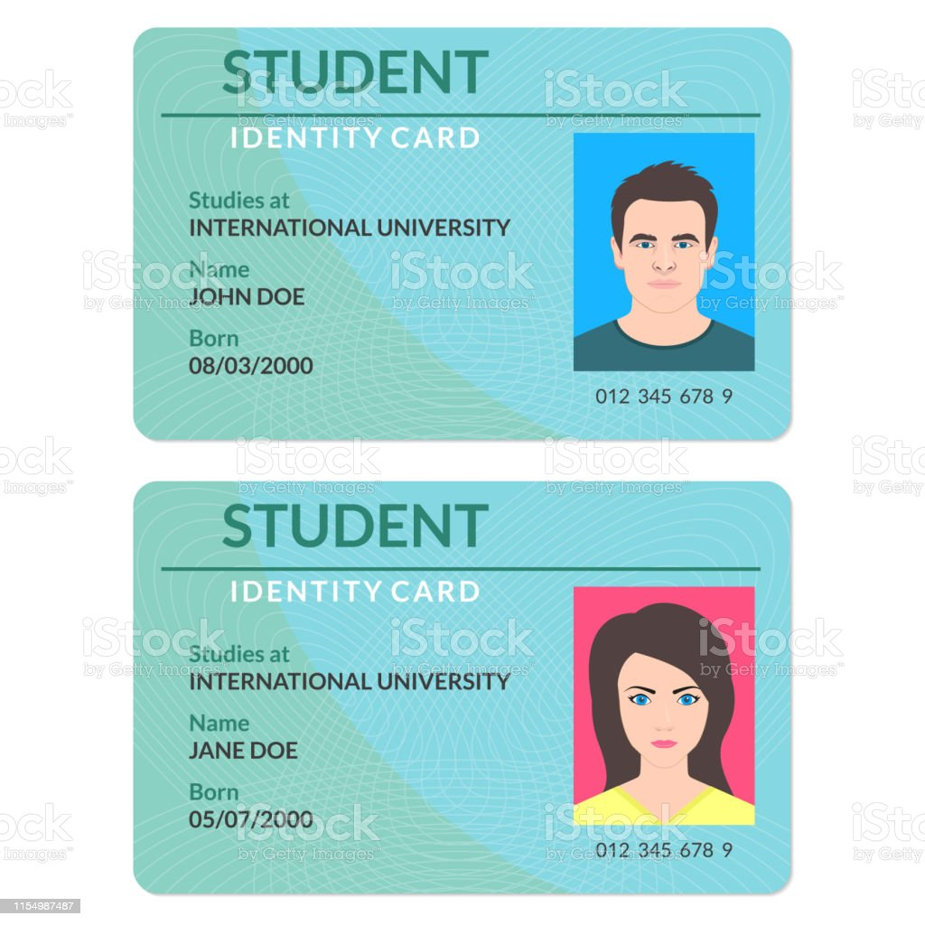 Student id card. University, school, college identity card with...