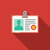 Student ID Flat Design Education Icon with Side Shadow