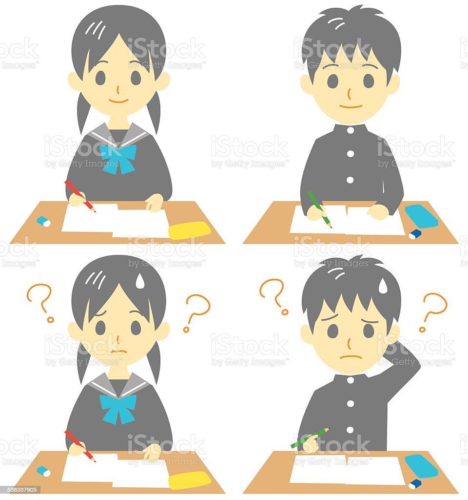 student in class vector art illustration