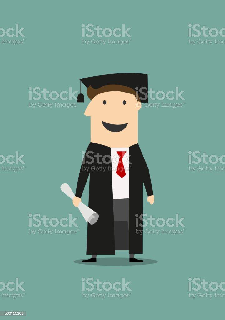 Estudiantes en traje de graduación con un diploma y sombrero ilustración de  estudiantes en traje de cec2d0e4bd4