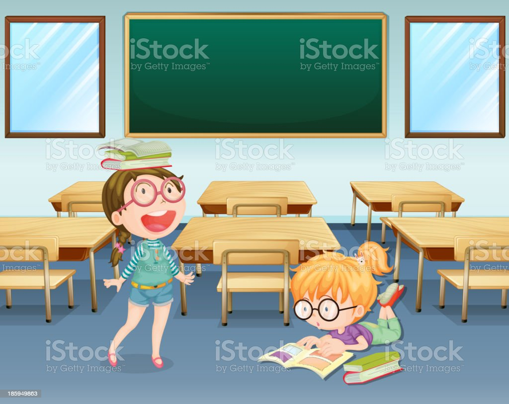Student inside the classroom royalty-free stock vector art