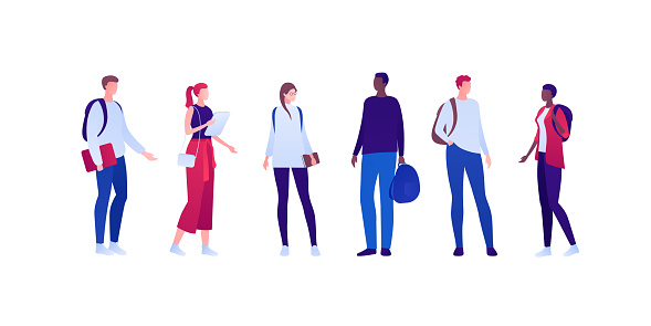 Student lifestyle concept. Vector flat person illustration set. Group of multi-ethnic male and female young adult in casual outfit clothes collection. Design for banner, web, infographic.