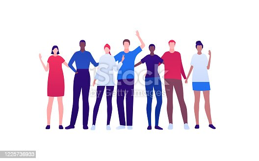 istock Student lifestyle, diversity and friendship concept. Vector flat person illustration. Multi-ethnic crowd of young adult people in smart casual fashion cloth. Design for banner, web, infographic. 1225736933