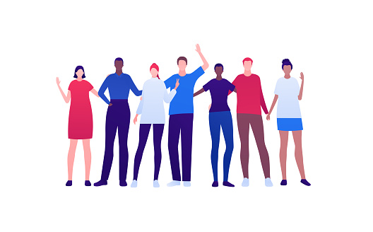 Student lifestyle, diversity and friendship concept. Vector flat person illustration. Multi-ethnic crowd of young adult people in smart casual fashion cloth. Design for banner, web, infographic.