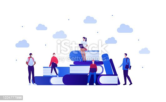 Student lifestyle in pandemic concept. Vector flat person illustration. Group of multi-ethnic young adult in face mask. Book, laptop, pen sign. Design for college banner, school web, infographic