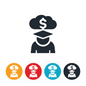 An icon of a student in cap an gown with a cloud and money symbol above his head. The icon represents student loan debt.