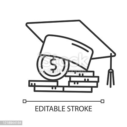 Student loan linear icon. Credit to pay for university education. Tuition fee. College scolarship. Thin line illustration. Contour symbol. Vector isolated outline drawing. Editable stroke