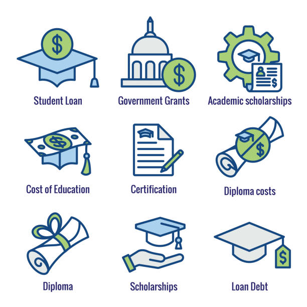 Student Loans Icon Set with Academic Scholarships & Debt Imagery Student Loans Icon Set - Academic Scholarships and Debt Imagery federal building stock illustrations